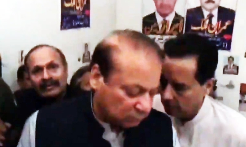 Retired capt Mohammad Safdar, the son-in-law of Nawaz, was seen next to him at the court in a video chip shared by the PML-N on social media. — SS courtesy of the PML-N