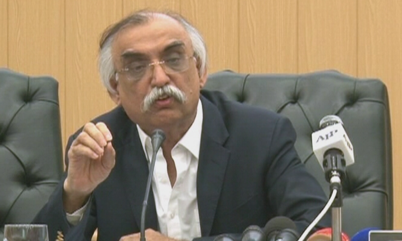 Chairman FBR Shabbar Zaidi gestures as he speaks during a press conference. Photo: File