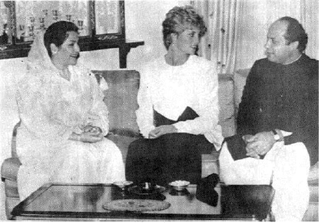 Princess Diana converses with Prime Minister Nawaz Sharif before dinner at the Prime Minister's residence in Islamabad on September 23, 1991, as Kulsum Nawaz Sharif looks on. — Reuters/File