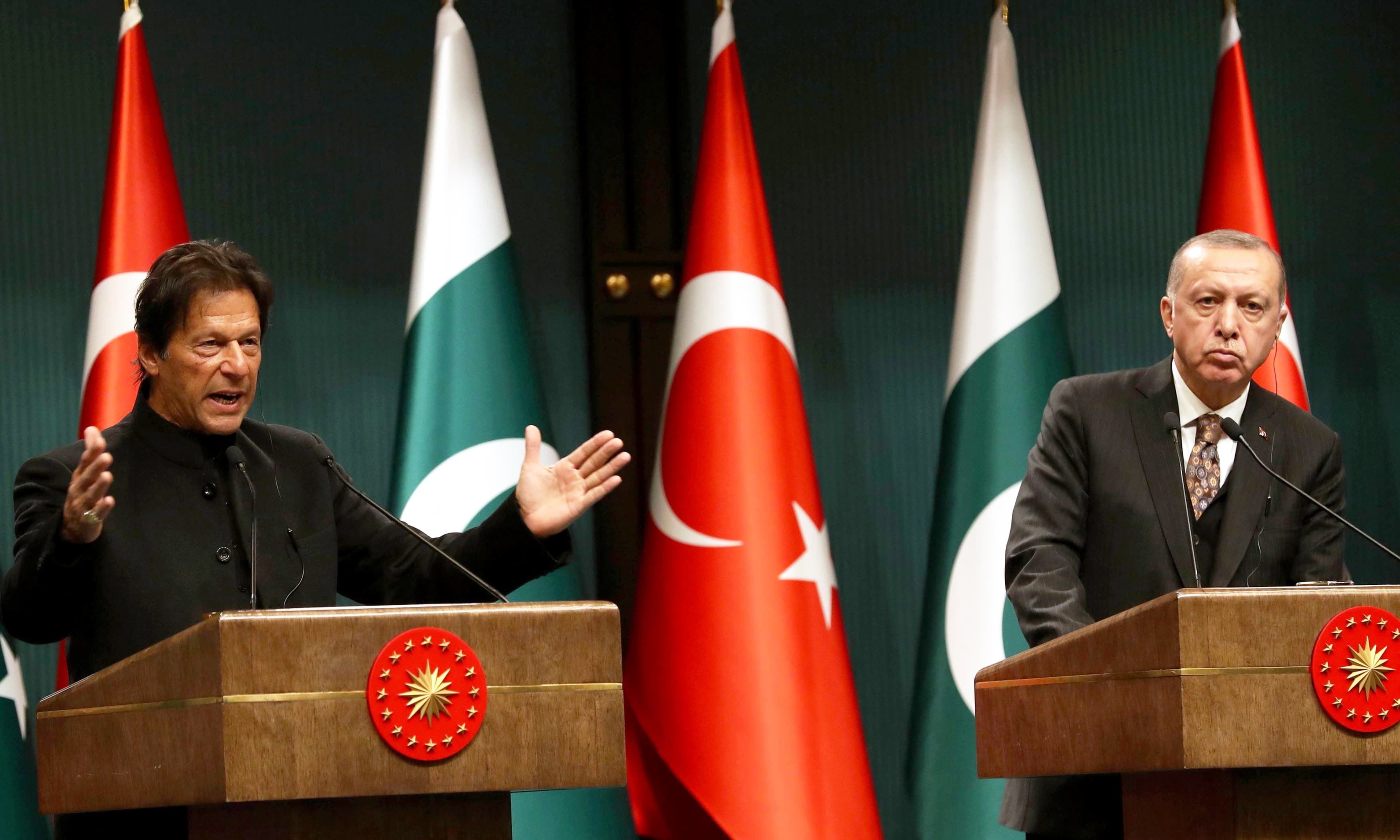 According to Prime Minister Office (PMO), Prime Minister Imran Khan telephoned the Turkish President Recep Tayyip Erdogan to exchange views on recent developments and apprised the latter that Pakistan fully understood Turkey's concerns relating to terrorism. — AFP/File