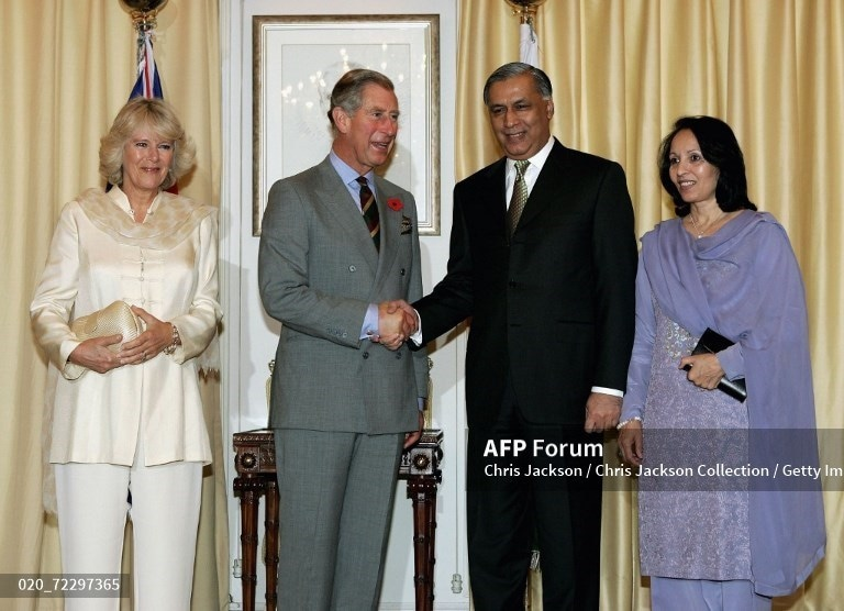 Prince Charles and Camilla meet Prime Minister Shaukat Aziz and his wife Rukhsana Aziz before visiting a Youth Business International Event at Prime Minister House on October 30, 2006, in Islamabad.