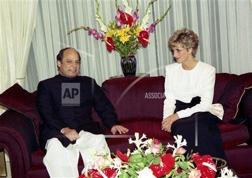 Princess Diana converses with Prime Minister Nawaz Sharif before dinner at the Prime Minister's residence in Islamabad on September 23, 1991.