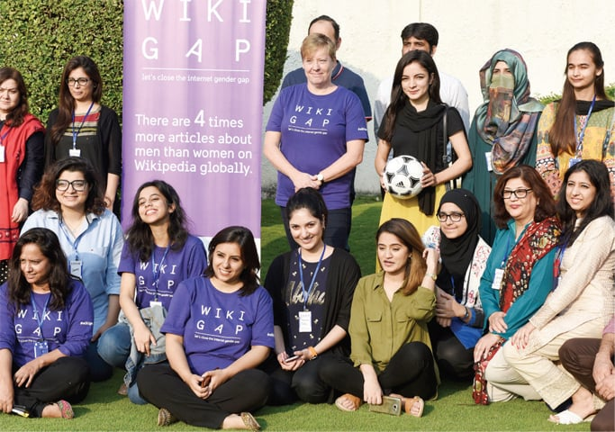 Swedish Ambassador Ingrid Johansson, footballer Karishma Ali and volunteers pose for a photograph at the WikiGap event on Saturday. The other picture shows participants being educated on how to upload articles on Wikipedia. — White Star