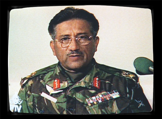 Television frame-grab from Pervez Musharraf's first address to the nation on October 13, 1999 | AFP