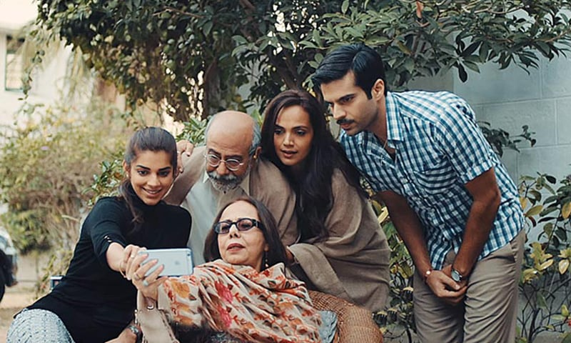 Sanam Saeed, Mohammed Ahmed, Beo Raana Zafar, Aamina Sheikh and Adnan Malik in a scene from Cake, directed by Asim Abbasi
