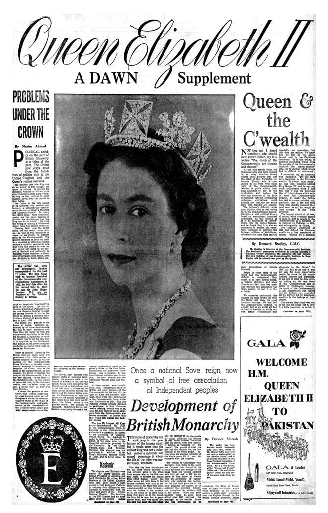 The front page of a special supplement taken out by Dawn on the Queen's first arrival to Pakistan.