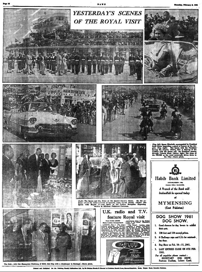 Scenes from the first day of the Queen's stay in Karachi, as seen in a Dawn edition dated February 2, 1961.