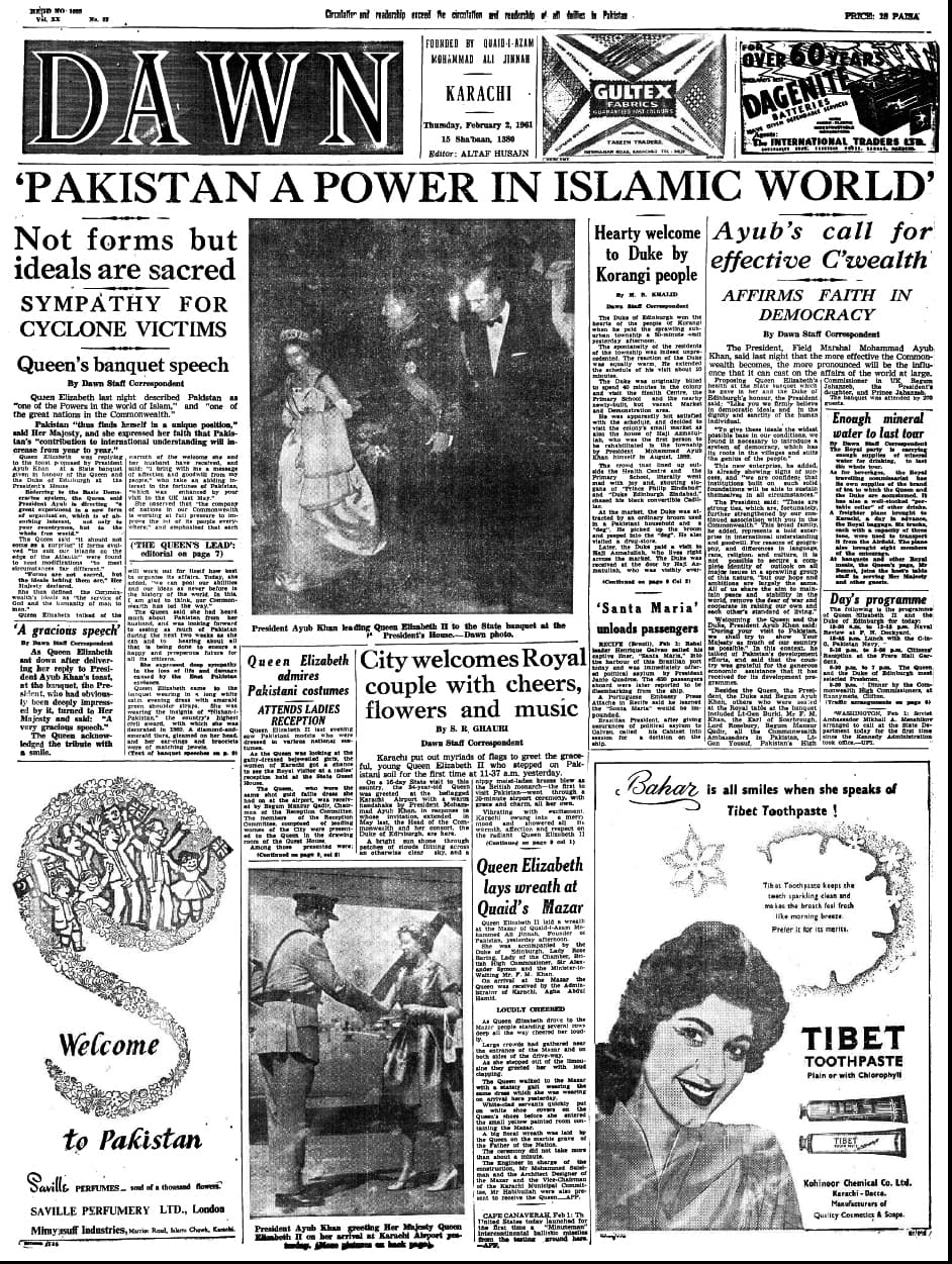 A view of Dawn's front page a day after the Queen's speech at the banquet, February 2, 1961.