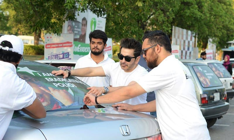 Singer Fakhir Mehmood is seen at Islamabad's Fatima Jinnah Park participating in the 'One Vision Initiative' launched by Pakistan Polio Eradication Programme.