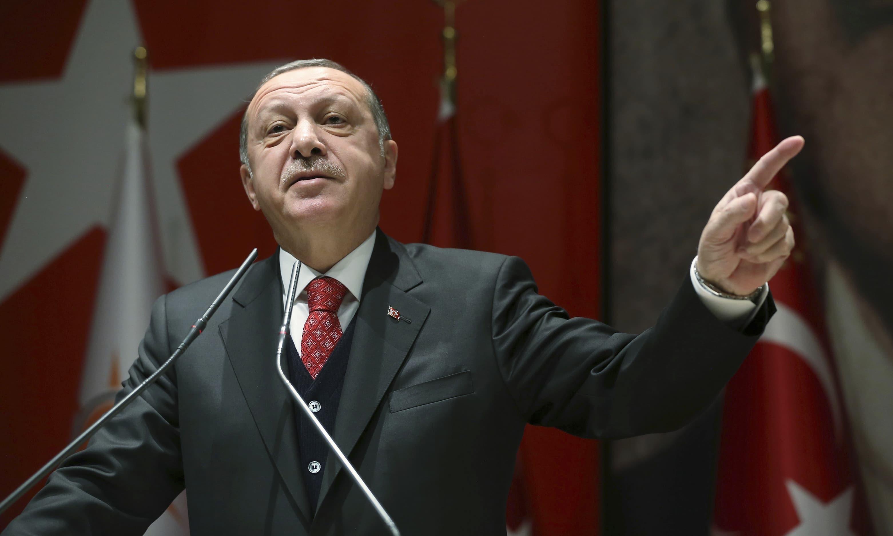 طیب اردوان نے وائی پی جی اور ترکی کے درمیان مصالحت کو بھی مسترد کردیا—فائل/فوٹو:اے پی