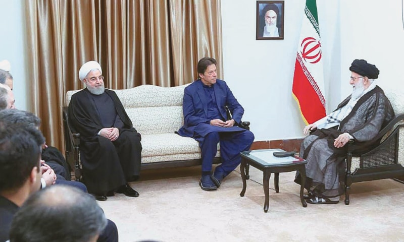 TEHRAN: Prime Minister Imran Khan calls on Iran's Supreme Leader Ayatollah Ali Khamenei on Sunday. President Hassan Rouhani is also seen.—APP