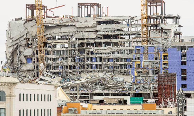New Orleans: The Hard Rock Hotel, which was under construction, after a fatal partial collapse on Saturday.—AP