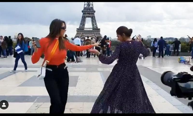 اب ماہرہ خان نے لبنانی اداکارہ کے ساتھ عربی گانے پر رقص کیا—اسکرین شاٹ