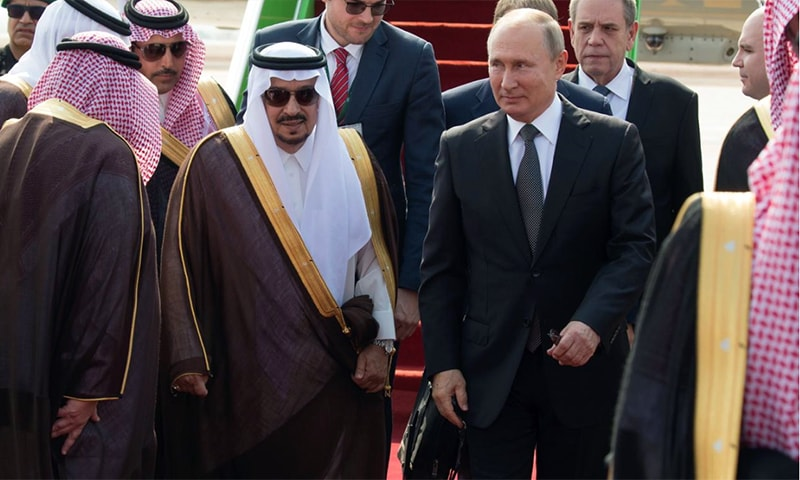 Russian President Vladimir Putin is received by Saudi officials upon arrival in Riyadh. — Photo courtesy Saudi Foreign Ministry Twitter