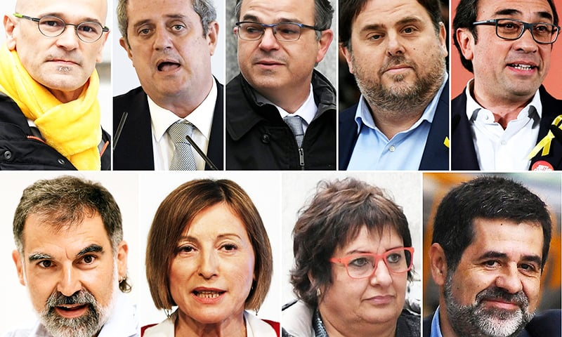 This file combination of pictures created shows jailed Catalan separatist leaders (TOP L-R) Raul Romeva, Joaquim Forn, Jordi Turull, Oriol Junqueras, Josep Rull (BOTTOM L-R) Jordi Cuixart, Carme Forcadell, Dolors Bassa and Jordi Sanchez. — AFP