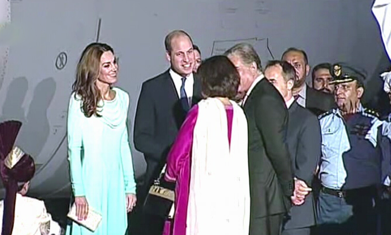 The Duke and Duchess of Cambridge are welcomed by Foreign Minister Shah Mehmood Qureshi and his wife at Nur Khan Airbase. — DawnNewsTV