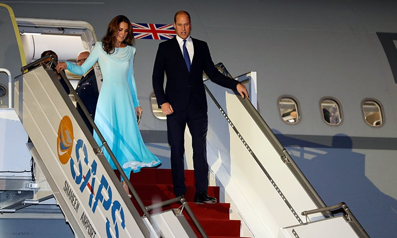 Britain's Prince William and Catherine, Duchess of Cambridge, arrive in Islamabad on Monday. — Reuters
