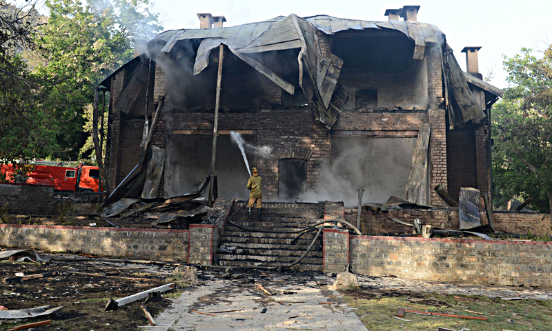 On June 15, 2013, the historic Quaid-i-Azam Ziarat Residency was set alight in an arson attack by militants. — AFP/File