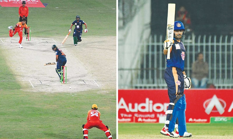 FAISALABAD: Sindh paceman Mohammad Hasnain bowls to Balochistan opener Imam-ul-Haq during their match of the National T20 Cup at the Iqbal Stadium on Monday.—APP / BABAR Azam raises the bat after reaching century on Sunday night.—PCB
