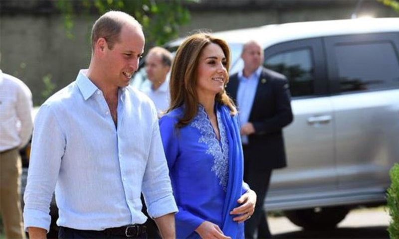Prince William and Kate Middleton arrive at a government girls high school, University Colony in Islamabad on Tuesday morning. — Photo courtesy Radio Pak Twitter account