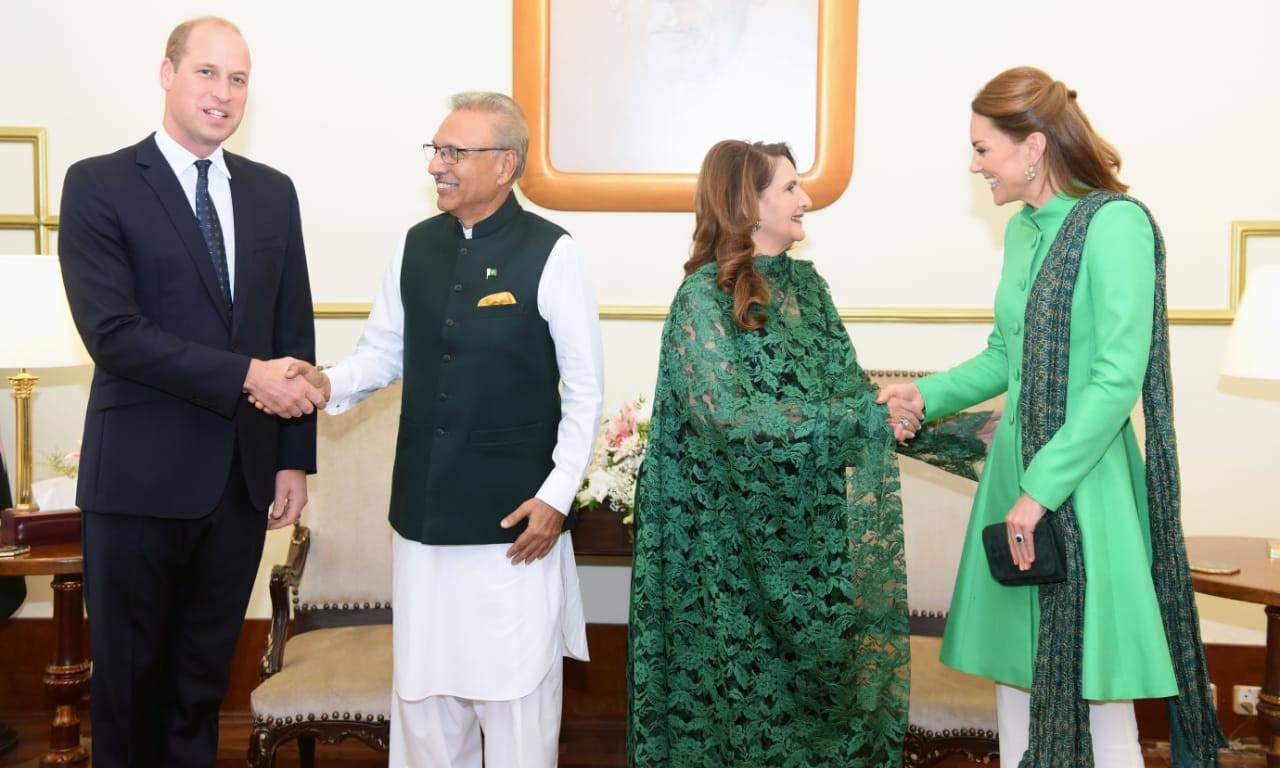 The British royal couple was received by President Arif Alvi and his wife Samina Arif at Aiwan-i-Sadr. — Photo courtesy FO