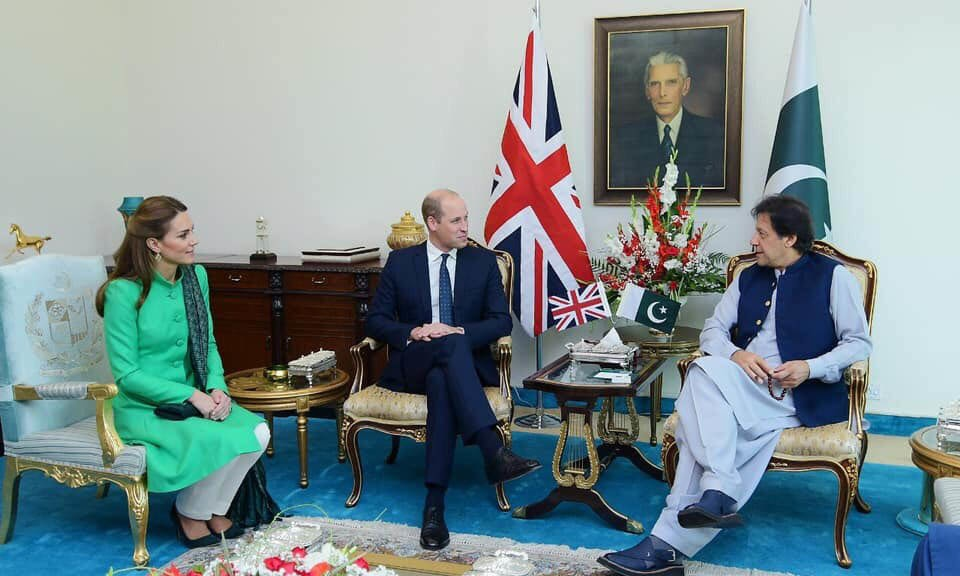 Duke and Duchess of Cambridge Prince William and Kate Middleton with Prime Minister Imran Khan at the Prime Minister House. — PTI Twitter