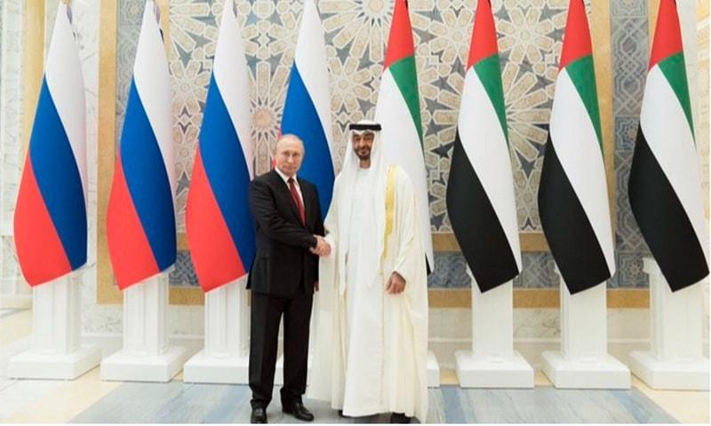 Russian President Vladimir Putin meets UAE Crown Prince Sheikh Mohammed bin Zayed Al Nahyan in Abu Dhabi. — Photo courtesy: WAM News Twitter