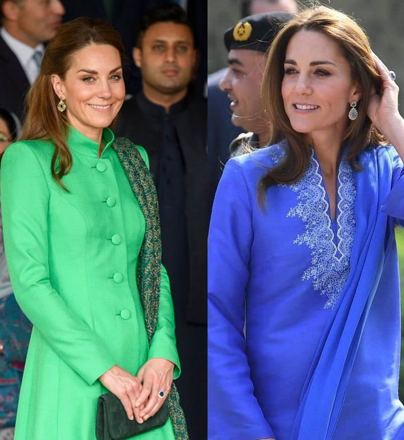 کیٹ مڈلٹن کے پاکستانی طرز کے لباس کو بھی سراہا گیا—فوٹو: ٹوئٹر