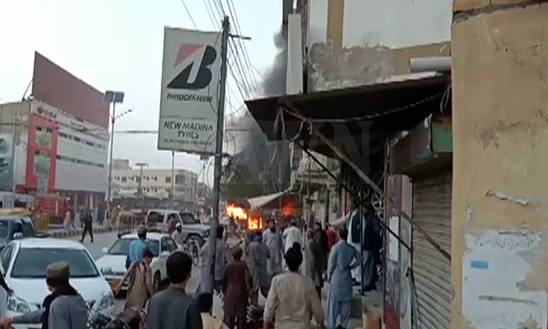 A fire is seen at the site  of the blast. — DawnNewsTV