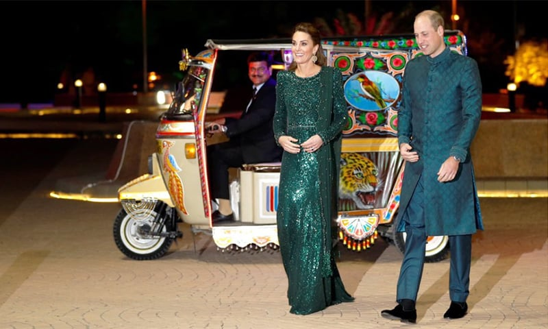 The royal couple arrived at the venue in style in a rickshaw decked out in tradtional truck art. — PTI's official Twitter account