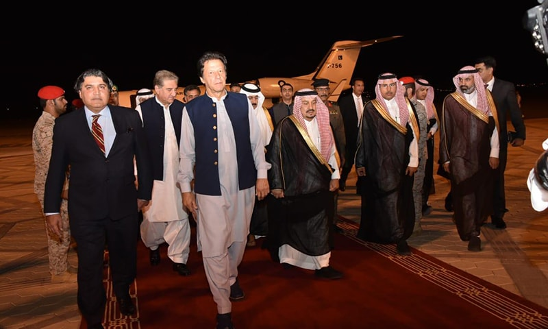PM Imran Khan is received by Saudi and Pakistani officials at Riyadh airport. — Photo courtesy: PM Office