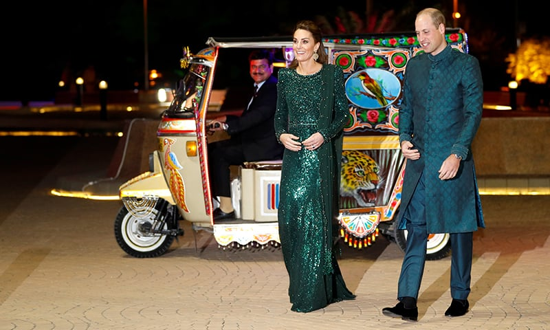 Britain's Prince William and Catherine, Duchess of Cambridge, arrive to attend a reception hosted by the British High Commissioner to Pakistan in Islamabad, on Tuesday. — Reuters