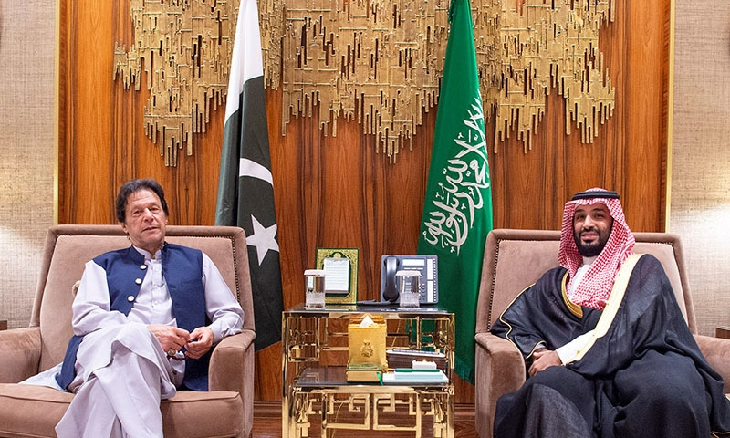 Saudi Arabia's Crown Prince Mohammed bin Salman meets with Prime Minister Imran Khan in Riyadh, Saudi Arabia on October 15. — Bandar Algaloud/Courtesy of Saudi Royal Court/Handout via Reuters