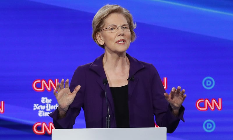 Democratic presidential candidate Sen. Elizabeth Warren, D-Mass., speaks during a Democratic presidential primary debate hosted by CNN and The New York Times at Otterbein University on October 15, 2019, in Westerville, Ohio. — AP