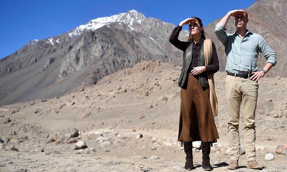Duke and Duchess of Cambridge Prince William and Kate Middleton on Wednesday visited the foothills of the Hindu Kush mountain range. — Photo courtesy PTI
