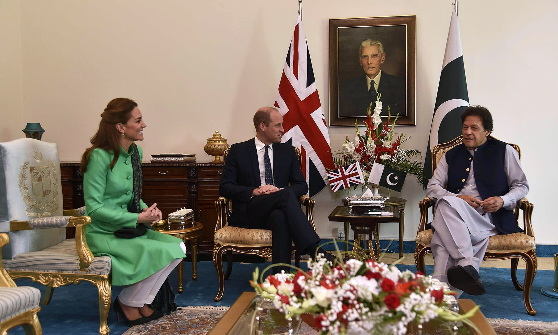 Prime Minister Imran Khan (R) meets with Britain's Prince William (C), Duke of Cambridge, and his wife Catherine (L), Duchess of Cambridge, at the Prime Minister House in Islamabad on October 15. — AFP