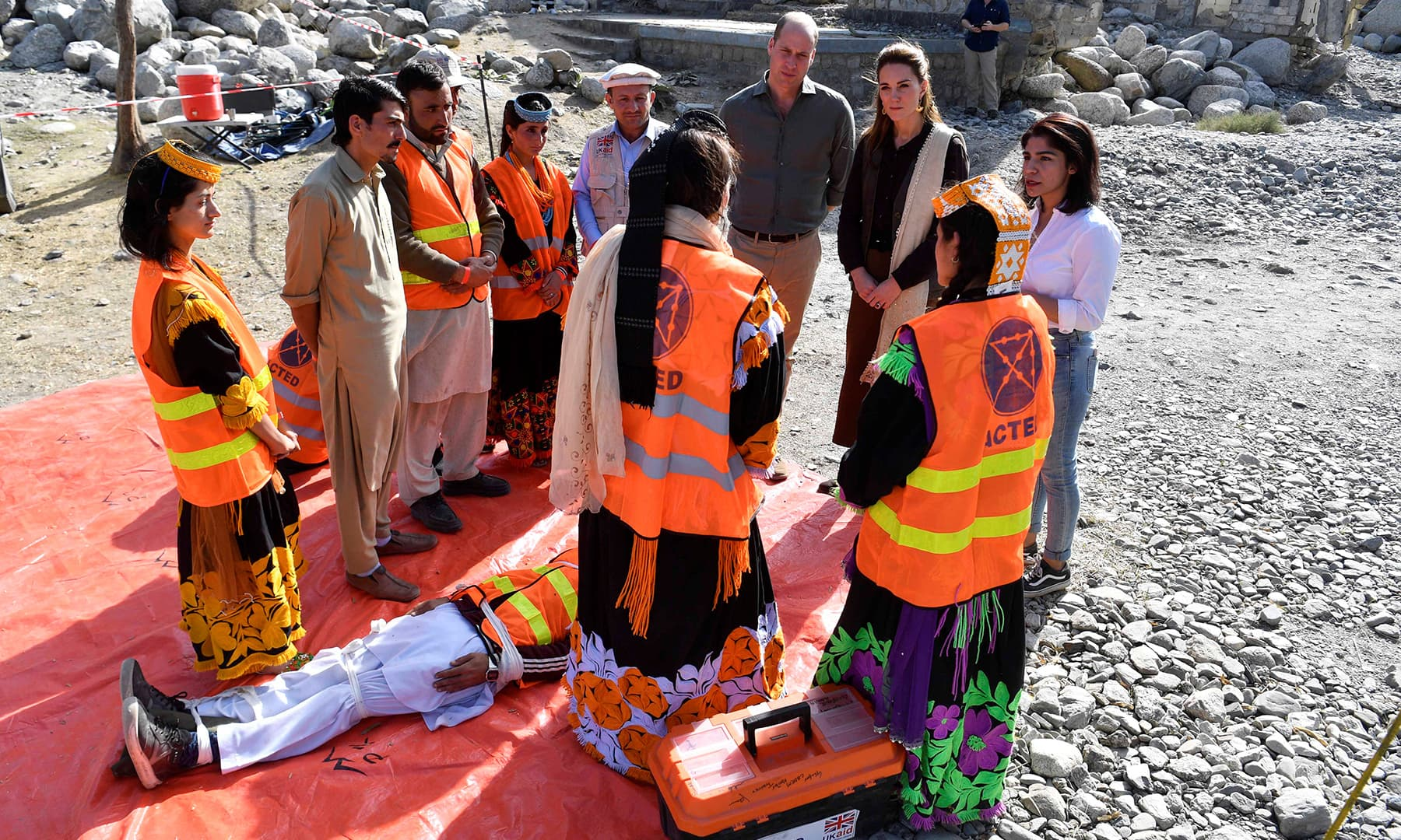 Britain's Prince William and Catherine, Duchess of Cambridge visit a village in the Chitral district of Khyber-Pakhtunkhwa, October 16. — Reuters