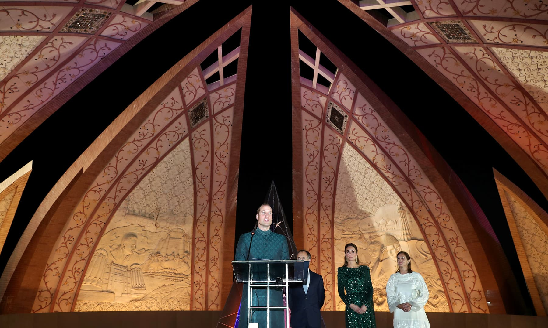 Prince William makes a speech as he attends a special reception with Catherine, Duchess of Cambridge, hosted by the British High Commissioner to Pakistan, Thomas Drew, at the Pakistan National Monument in Islamabad, October 15. — Reuters