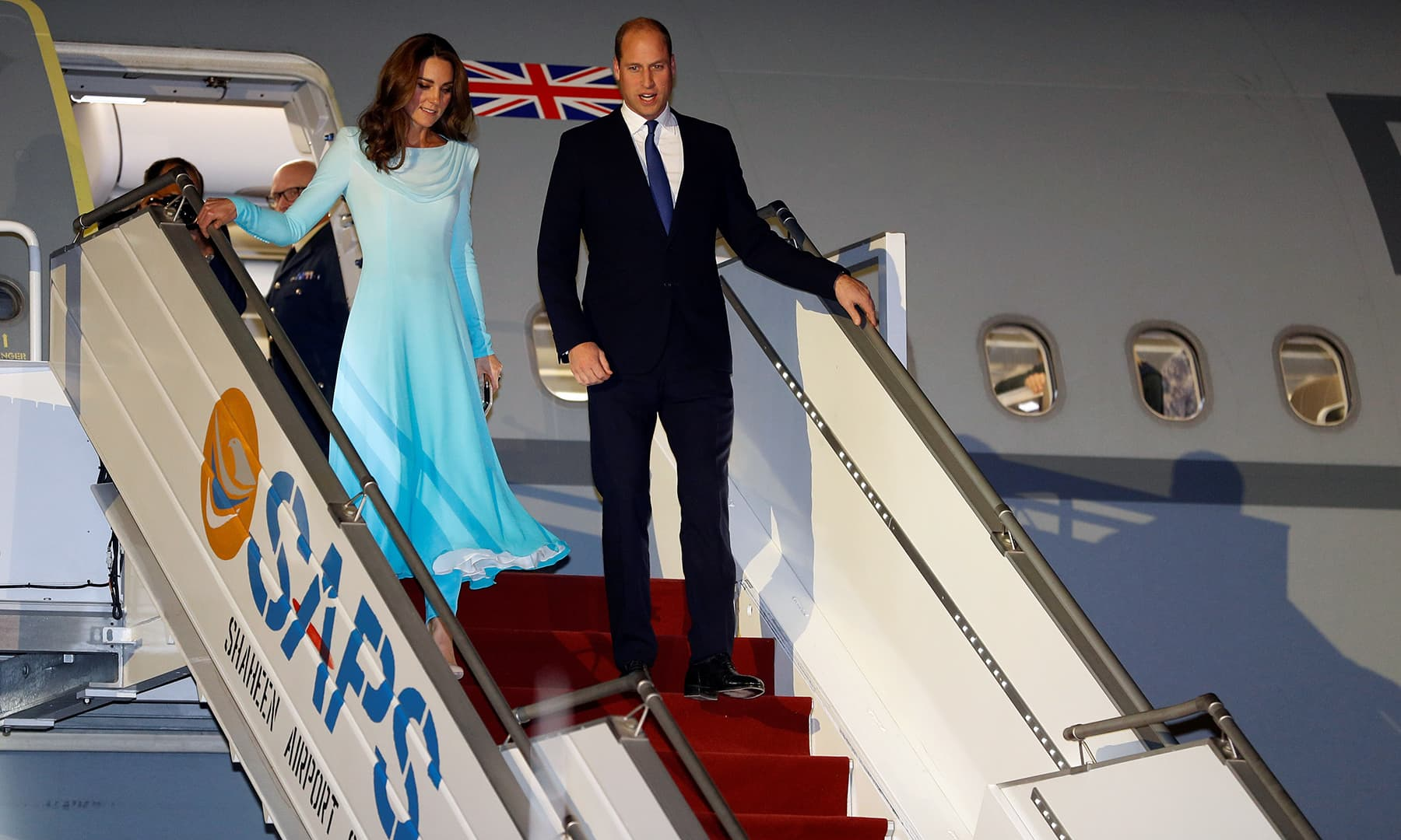 Britain's Prince William and Catherine, Duchess of Cambridge, arrive in Islamabad, October 14. — Reuters