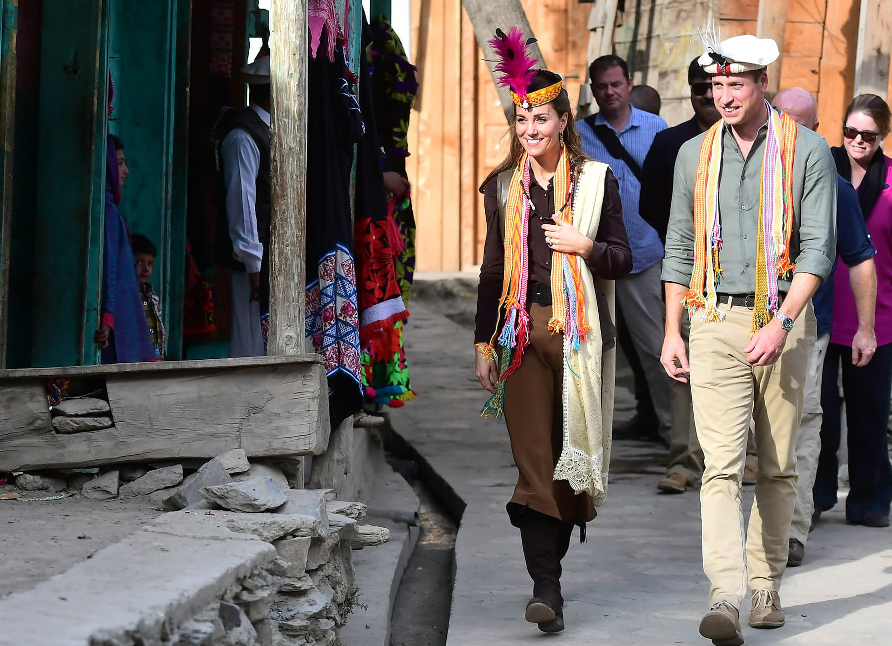 Prince William and Catherine, Duchess of Cambridge visit a settlement of the Kalash people in Chitral. — Reuters