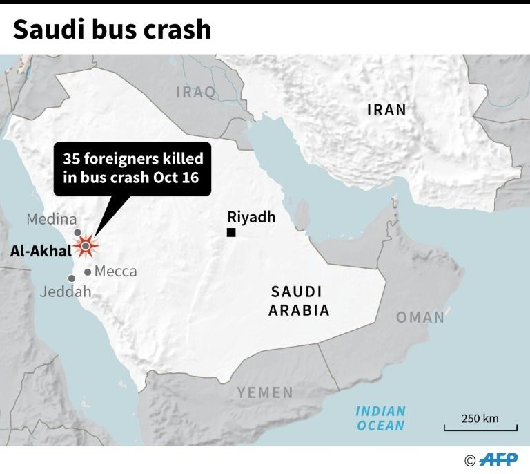 Saudi Arabia bus crash. — AFP