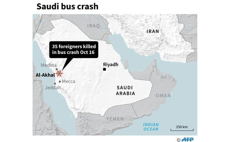 حادثے کے وقت بس میں 39 افراد سوار تھے—فوٹو: اے ایف پی