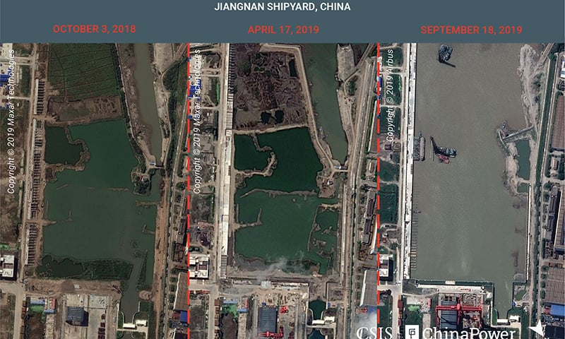 A combination image of satellite photos shows Jiangnan Shipyard in Shanghai, China on October 3, 2018, April 17, 2019 and September 18, 2019. — Reuters