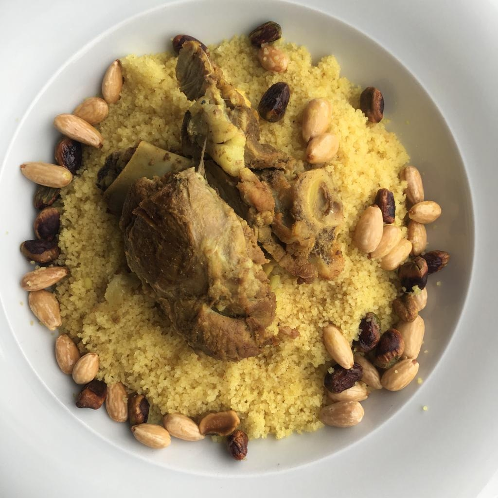 Couscous with lamb and dried fruits.