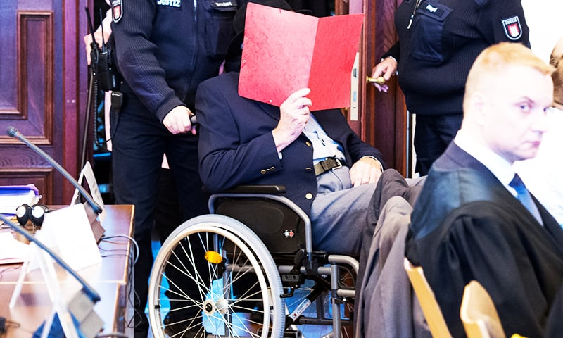 The 93-year-old German Bruno D. arrives for his trial in Hamburg court, Germany, October 17, 2019. — Reuters
