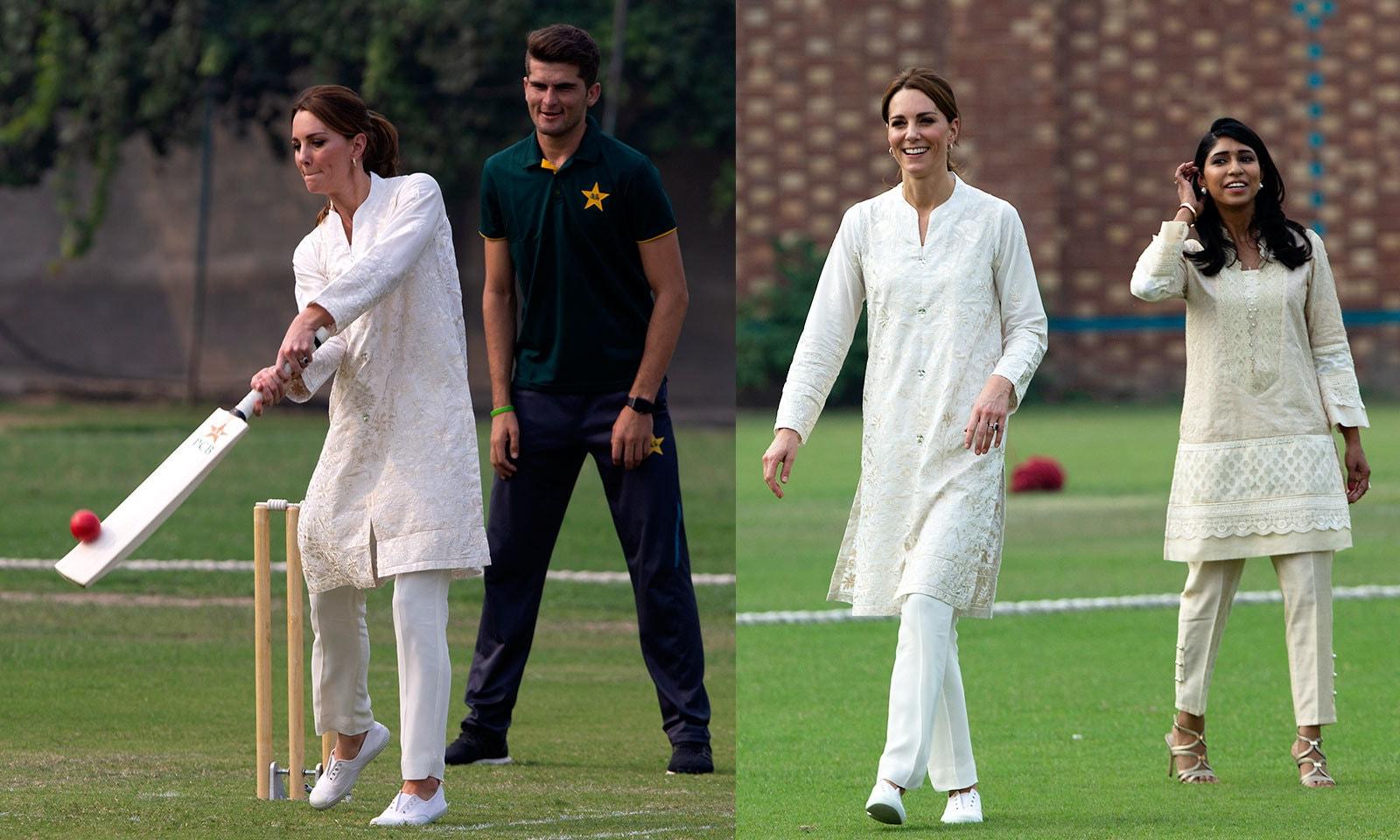 کیٹ مڈلٹن نے کرکٹ بھی کھیلی—فوٹو: اے پی