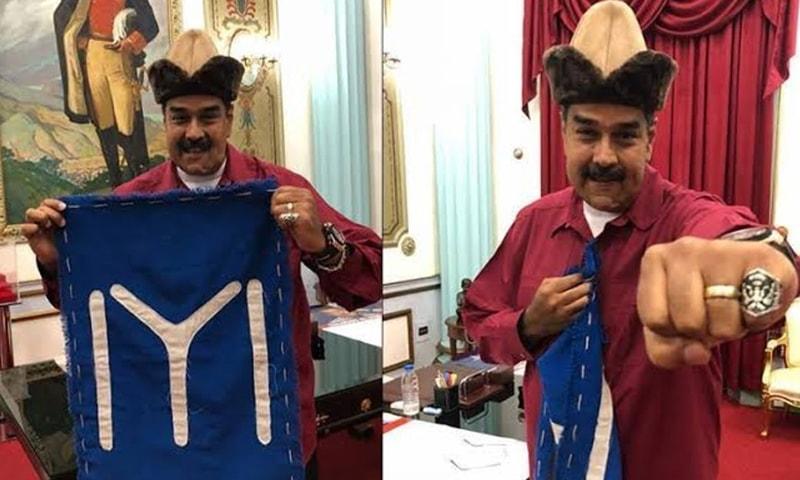 ونزویلا کے صدر نکولاس مادورو دیریلش کے سیٹ پر