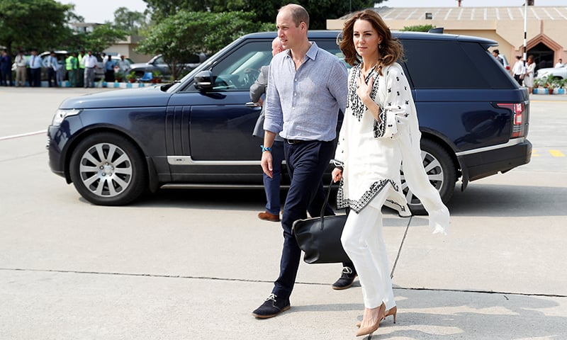 Britain's Prince William and Catherine, Duchess of Cambridge, depart from Lahore airport on Friday. — Reuters