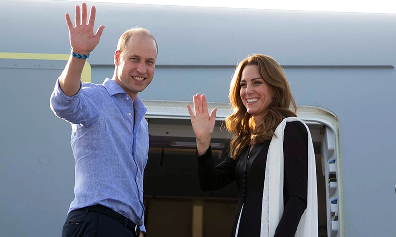 Britain's Prince William and Catherine, Duchess of Cambridge, wave as they depart Islamabad on Friday. — Reuters
