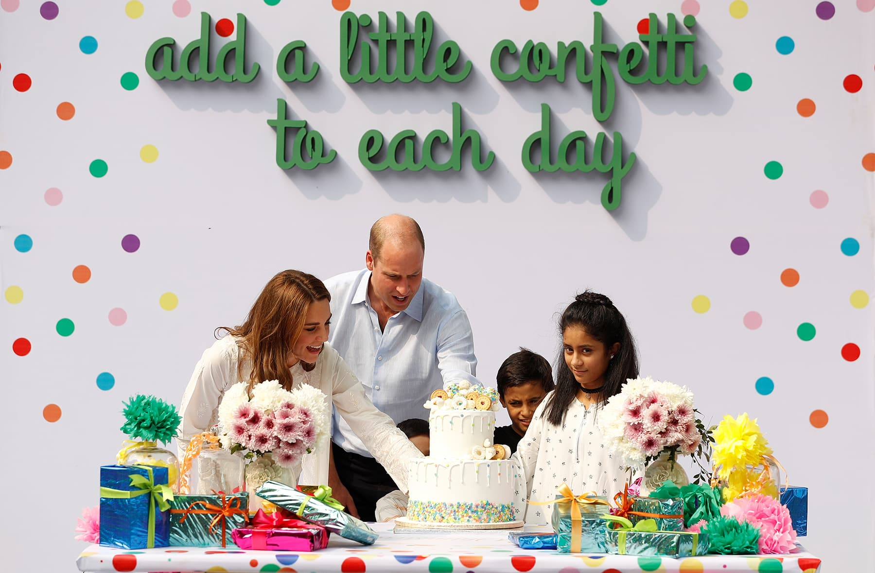 Prince William and Kate Middleton celebrate the birthday of Iman, Ibrahim, and Daniyal, at SOS Children's village in Lahore, October 17. — Reuters